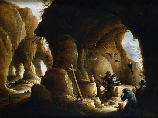 Stock Photo: 1746-1160 Temptation of St Anthony. Attrributed to Abraham Teniers (1629-70). Private Collection