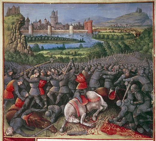 Stock Photo: 1746-1196 Crusaders (1096-1291) From 'Overseas Voyages'  illuminated by Sebastian Marmoret (c1490)  Detail.   Fallen knights and horses.  Manuscript. Bibliotheque Nationale, Paris.