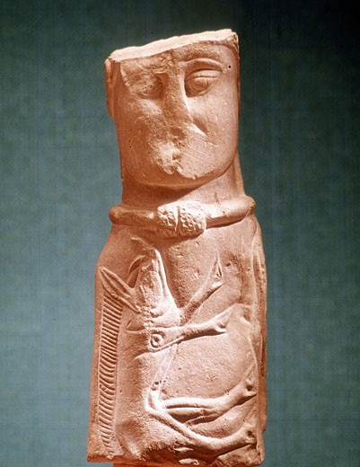 Stock Photo: 1746-1200 Image of Celtic deity with wild boar and wearing torque. Stone. Musee de St Germain