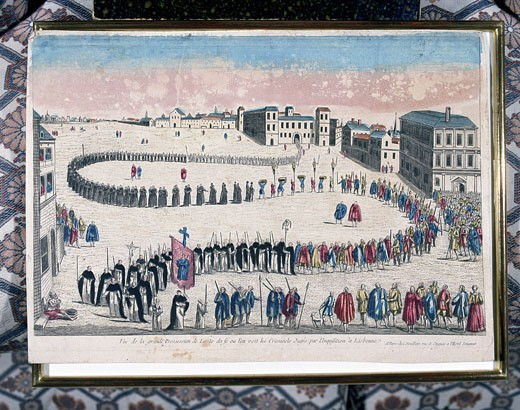 Grand procession of the auto-da-fe of criminals sentenced by the Inquisition at Lisbon. 18th century coloured engraving. Private collection : Stock Photo