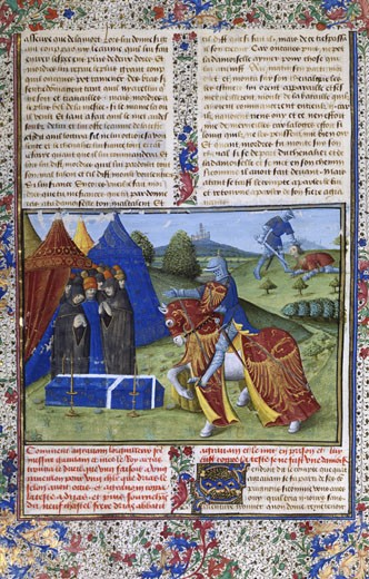 Stock Photo: 1746-1257 The Book of Sir Lancelot: Sir Agravain. 15th century manuscript, B.N., Paris
