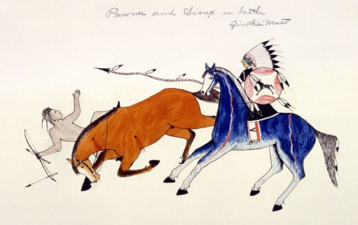 Stock Photo: 1746-1267 Unhorsing of PAWNEE warrior by the spear of SIOUX warrior Zintka Mato (Dog Bear). Painting on cloth by Kills Two, Sioux Indian (1869-1727)