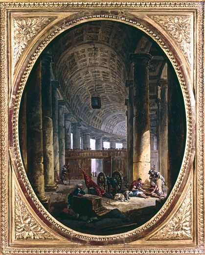 Stock Photo: 1746-1317 Interior of the colonnade of St Peter's, Rome, at the time of the conclave of 1769. Architect, Bernini