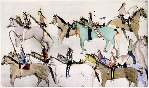 Stock Photo: 1746-1339 Sioux warriors leading away captured horses after defeating Custer's troops. Painting c. 1900 by Amos Bad Heart Buffalo