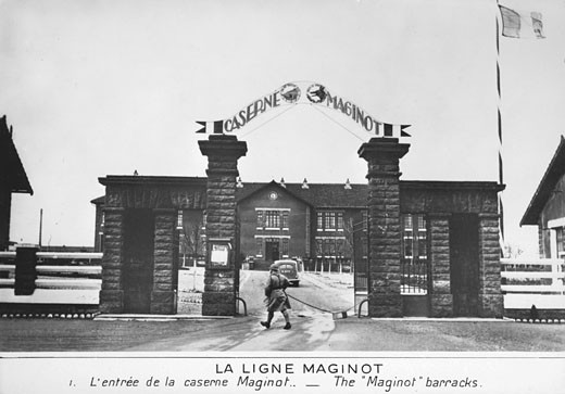 Entrance to the Maginot barracks, Part of the The Maginot Line, a French defensive installation, World War II : Stock Photo