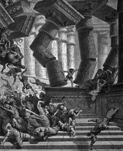 Stock Photo: 1746-1362 Samson, regains his strength and brings the Temple of Dagon crashing down. Judges.Gustave Dore (1832-1883) French painter and illustrator for ''The Bible'' (London 1866). Wood engraving.'