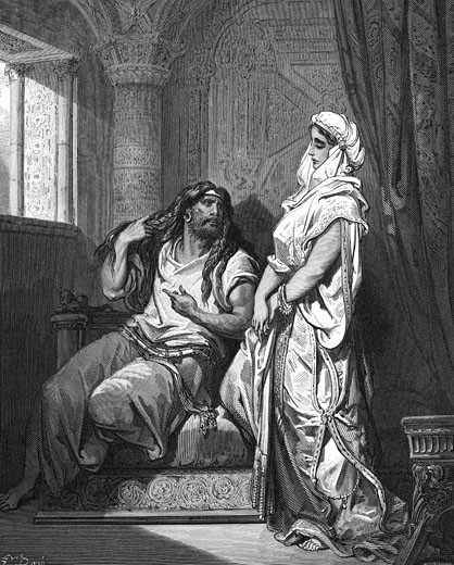 Stock Photo: 1746-1363 'Delilah the Philistine, learns from her lover, Samson the Israelite, that the secret of his great strength lies in his long hair.Judges. Illustration by Gustave Dore (1832-1883) French painter and illustrator for ''The Bible'' (London 1866). Wood engraving.'