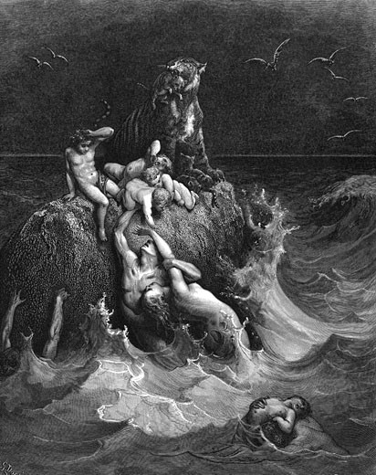 "Stock Photo: 1746-1365  'The Deluge'  ""And all flesh died that moved upon the earth....""   Genesis 7.22.  Illustration by Gustave Dore French painter and illustrator for ""The Bible"" (London 1866). Wood engraving."