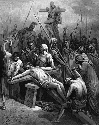"Stock Photo: 1746-1368  'Crucifixion'. Jesus nailed to the cross. St John 19.18.  Iullustration by Gustave Dore (1832-1883) for ""The Bible"" (London 1866). Wood engraving."
