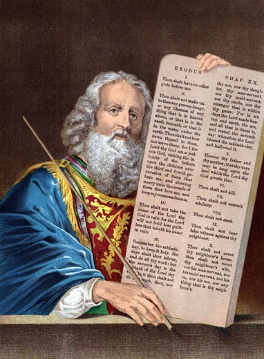 Stock Photo: 1746-1376 Moses, after 40 days absence, comes down from the mountain with the Ten Commandments.  Bible: Exodus 34.  Chromolithograph c1860