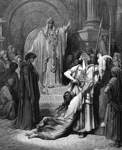 "Judgement of Solomon.  I Kings 3:25. From Gustave Dore's illustrated ""Bible"", 1865-6. Wood engraving : Stock Photo"