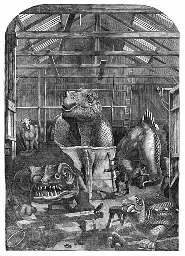 """The 'Extinct Animals' model room at Crystal Palace, Sydenham, showing models of dinosaurs being prepared for display. Benjamin Waterhouse Hawkins (1807-89) prepared the display. From """"The Illustrated London News"""" (London, December 31, 1853) Wood engraving : Stock Photo"""
