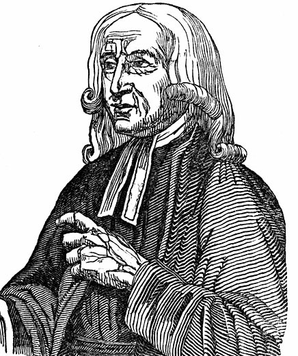 Stock Photo: 1746-1421 John Wesley (1703-1791) English non-conformist preacher. Founder of  Methodism. Woodcut 1832.