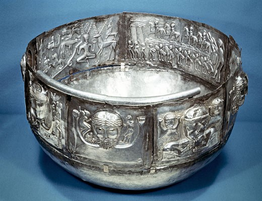 Gundestrup Cauldron (bowl), Celtic ritual vessel of 2nd century BC. Inside on right is Cernunnos, King of the animals. Silver partially gilded. Danish National Museum, Copenhagen. : Stock Photo