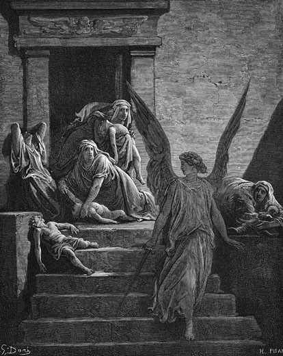 "Stock Photo: 1746-1446 Seven Plagues of Egypt: Exodus. Angel of the Lord, sword in hand, leaving mothers lamenting the death of the first born. Illustration by Gustave Dore (1832-1883) French painter and book illustrator for ""The Bible"" (London 1866). Wood engraving."