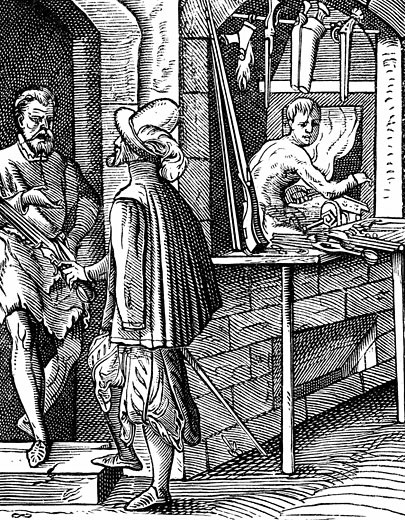 Arquebusier or hand-gun maker. Woodcut by Jost Amman (1539-1591) Swiss engraver. : Stock Photo