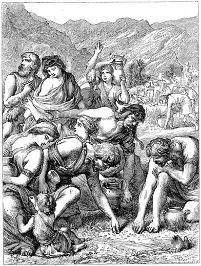 "Israelites in the wilderness collecting the manna that fell from heaven."" Bible"": Nehemiah 9.15. Wood engraving  1869 : Stock Photo"