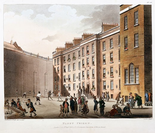 Stock Photo: 1746-1471 Inner court, Fleet Prison, London. Prison for debt and contempt of court. From The Microcosm of London,  Ackermann, London, 1808-11, illustrated by Pugin and Rowlandson. Aquatint