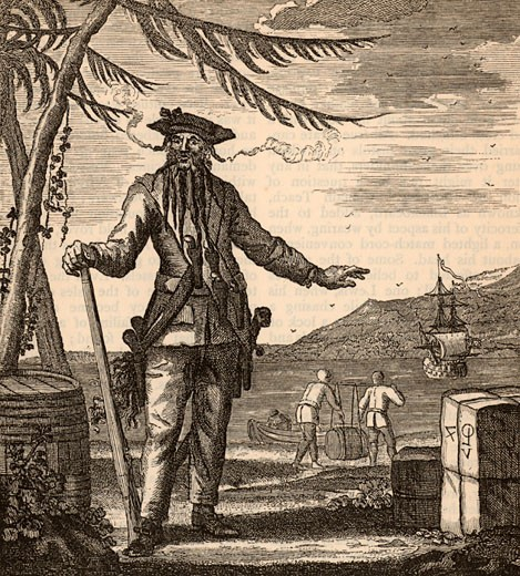 Stock Photo: 1746-148 Blackbeard (Captain Edward Teach) Engraving