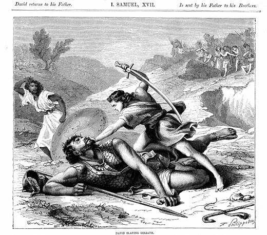 "Stock Photo: 1746-1499 David Slaying Goliath ""Bible"" I Samuel 17 Wood engraving c1870"