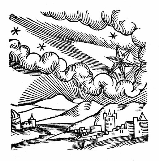 Stock Photo: 1746-1511 Comet of 1546 (Halley). At this appearance the comet was excommunicated by Pope Calixtus III. From Lycosthenes Prodigioum ac ostentorum chronicon Basle 1557. Woodcut