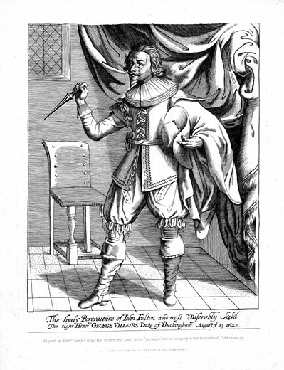Stock Photo: 1746-1516 John Felton (1595?-1628) English Protestant soldier, shown with poniard raised ready to strike, Assassin of George Villiers, Duke of Buckingham, 23 August 1628, Engraving