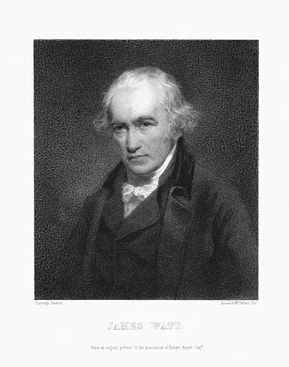 Stock Photo: 1746-1526 James Watt (1736-1819) Scottish engineer. Print after portrait by John Partridge