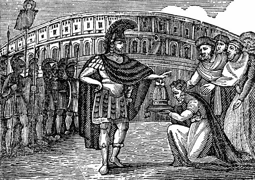 Stock Photo: 1746-1550 Belisarius (505-565) Byzantine general under Justinian I. Belasarius refusing the crown of Italy offered to him by the Goths in 540. Woodcut published New York 1830