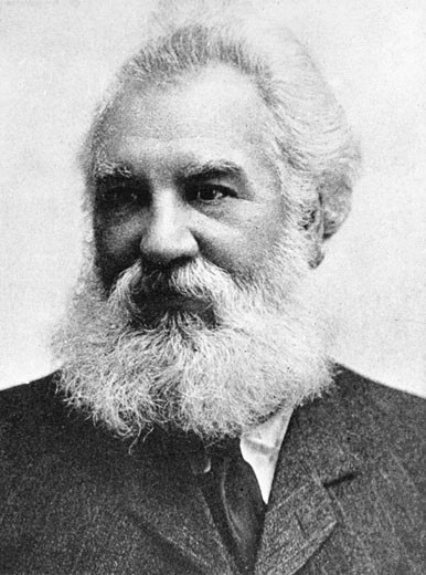 Stock Photo: 1746-1552 Alexander Graham Bell, (1847-1922), Scottish-born American inventor, patented telephone, 1876. Picture published 1907