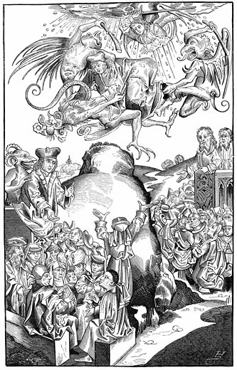 """The Reign of Antichrist From """"Liber Chronicarum Mundi"""" (Nuremberg Chronicle) by Hartmann Schedel 1493, Woodcut by Michel Volgemuth : Stock Photo"""