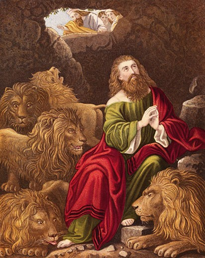 "Stock Photo: 1746-1564 Daniel, one of four great Hebrew prophets, l cast into the Lions' den by Nebuchadnezzar (Nebuchadrezzar) king of Babylon who is calling down '..is thy God able to delivery thee from the lions?'  ""Bible"" Daniel 6:20.  Daniel's survival demonstrated power of his true God Jehovah and insignific Judeo-Christian"""