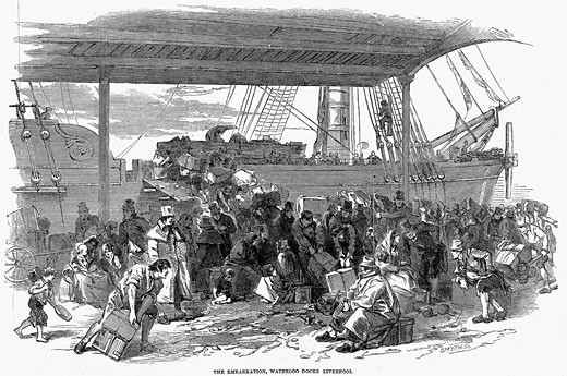 'Irish emigrants embarking for America at Waterloo Docks, Liverpool. From ''The Illustrated London News'', July 1850'  : Stock Photo