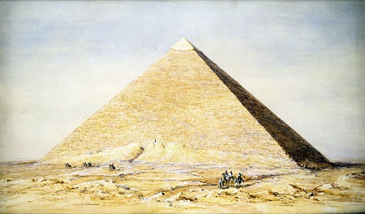 Stock Photo: 1746-1608 Great Pyramid of Cheops at Giza. Watercolour of 1831 by Francis Arundale (1807-53) English architectural draughtsman. Victoria & Albert Museum, London