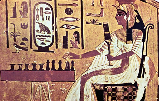 Stock Photo: 1746-1633 Nefetari laying Senat the Egyptian board game which is forerunner of chess. Her cartouche is highlighted in white, Wall painting from tomb of Nefetari, Thebes