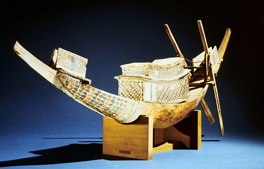 Treasure of Tutankhamun (dc1340 BC) : Model of boat. Cairo Museum, Egypt, : Stock Photo