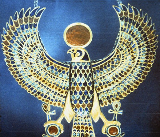 Stock Photo: 1746-1641 Treasure of Tutankhamun (dc1340 BC) : Pectoral jewel of gold, semi-precious stone and faience showing Horus, falcon-headed god crowned with sun disc with ankh, symbol of life, attached to each claw.
