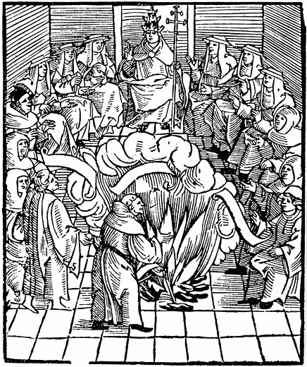 Pope Leo X supervising the burning of Martin Luther's books after the first Diet of Worms, 1521 Woodcut : Stock Photo