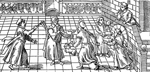 Stock Photo: 1746-1664 Childrens games in the 16th Century: from left to right are rattle, windmill, hobby-horse and boy blowing soap bubbles using a reed, Woodcut
