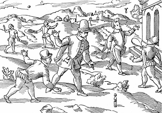 Children's games in 16th Century: In foreground boys are playing a form of skittles, on right shuttlecock, left background  playing at ball with strung rackets, Woodcut : Stock Photo
