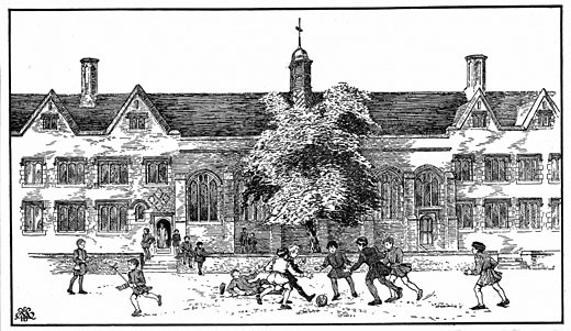 Stock Photo: 1746-1668 Artist's impression of boys in Tudor times playing football at Berkhamsted Grammar School, Hertfordshire.