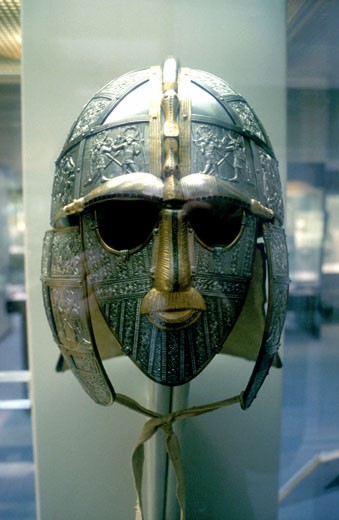 Anglo-Saxon helmet part of the Sutton Hoo treasure excavated near Woodbridge, Suffolk, England, 1939. British Museum : Stock Photo