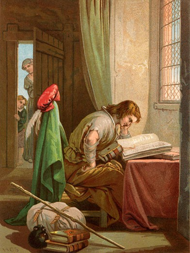 Christian Weeps and Prays. Christian, the pilgrim of the title, reading his bible. Beside him are his pilgrim's pack, his staff, and pilgrim's flask. Illustration by Henry Courtney Selous (1803-1890) for an 1844 edition of The Pilgrim's Progress : Stock Photo