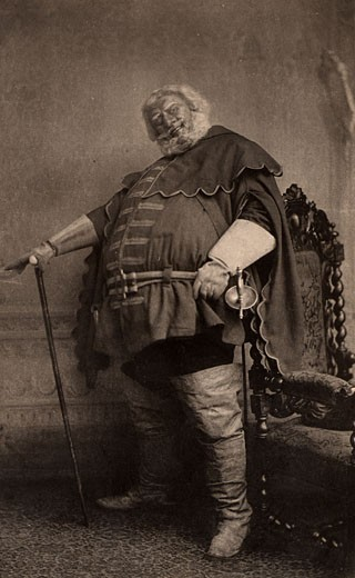 Herbert Beerbohm Tree, (1853-1917), English actor-manager. Founder of the Royal Academy of Dramatic Art (RADA). Here in 1896 as Falstaff in Henry VI, Part I by William Shakespeare. Photogravure : Stock Photo
