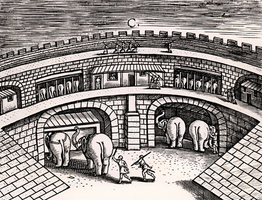 Roman army stables with elephants at ground level, with horses on the upper level, From Poliorceticon sive de machinis tormentis telis by Justus Lipsius (Antwerp, 1605)Copperplate engraving : Stock Photo
