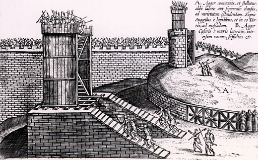Stock Photo: 1746-1778 Roman siege towers positioned to give attackers the advantage of height above the city walls, From Poliorceticon sive de machinis tormentis telis by Justus Lipsius (Antwerp, 1605), Engraving