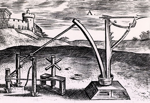 Reconstruction of a Roman machine for shooting arrows wound up ready for the missile to be released, From Poliorceticon sive de machinis tormentis telis by Justus Lipsius (Antwerp, 1605), Engraving : Stock Photo