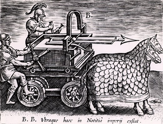 Stock Photo: 1746-1782 Roman machine for firing arrows mounted on a carriage drawn by two mailed horses, From Poliorceticon sive de machinis tormentis telis by Justus Lipsius (Antwerp, 1605), Engraving