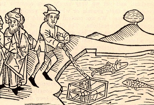 "Diving bell supposed to have been used by Alexander the Great (356-323 BC). Woodcut from a 15th century edition of ""The History of Alexander the Great"". : Stock Photo"