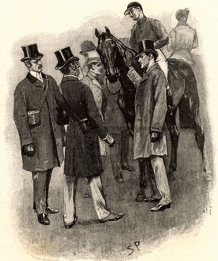 "Sherlock Holmes revealing the murderer of the trainer, John Straker From ""The Adventure of Silver Blaze"" By Sir Arthur Conan Doyle, Published in Strand Magazine in 1892 Sidney Paget (1860-1908 English) : Stock Photo"