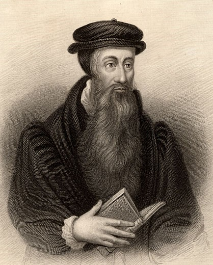 "John Knox (1505-1572) Scottish Protestant (Calvinist) reformer. Engraving from ""A Biographic Dictionary of Eminent Scotsmen"" by Thomas Thomson (Edinburgh and London 1870). : Stock Photo"